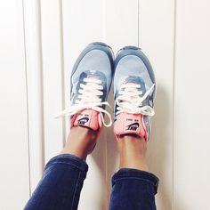 pink and blue running sneakers