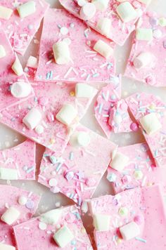 Sparkly, shimmery, magical, pink Unicorn bark for the pretty princess in your life :) Party Unicorn Bark Pink Party Foods, Pink Snacks, Pink Foods, Pink Chocolate, Chocolate Bark, Pink Sweets, Unicorn Foods, Candy Bark, Cute Desserts