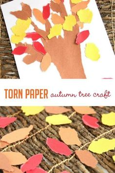 Tearing paper to work on fine motor skills while making a simple fall tree…
