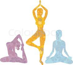 Stock vector of 'Beautiful woman doing youga exercises'