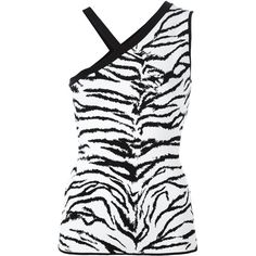FAUSTO PUGLISI Zebra Print One Shoulder Top (41.510 RUB) ❤ liked on Polyvore featuring tops, off one shoulder tops, one shoulder tops, fausto puglisi, zebra top and zebra print top
