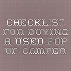 Checklist for buying a used pop-up camper