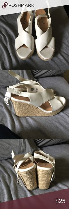 Dressy white wedges Only worn twice! Great condition and very clean American Eagle by Payless Shoes Wedges