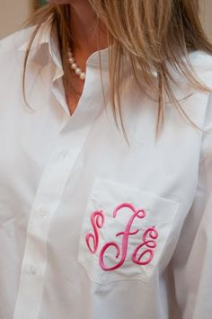 men's oversized button down monogrammed for bride and bridesmaids while they get their hair done. Doing!