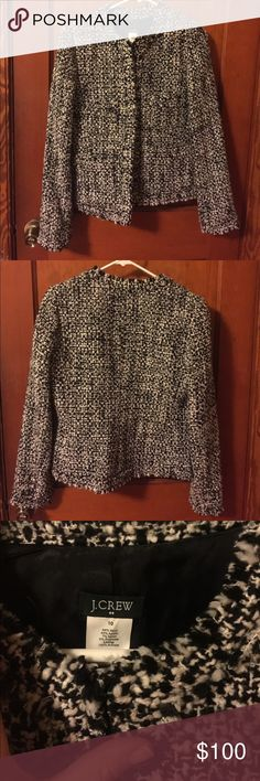 J Crew Tweed Jacket Perfect condition J Crew tweed jacket. Worn once. Gorgeous black and cream tweed with three button closure in front. Pockets on front. Fully lined. Easy to dress up or down. Fits small. I will be happy to provide measurements upon request. Sure to become a treasured favorite in your closet! J. Crew Jackets & Coats