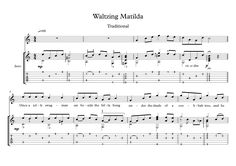 Waltzing Matilda classical guitar solo score Waltzing Matilda, is a well known ballad. Here is an arrangement for classical or fingerstyle guitar solo, with tablature, with finger position suggestions, with downloadable free mp3 for audio help.
