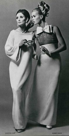 1966 evening dresses Christian Dior and Jeanne Lanvin