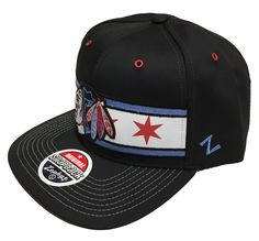 """Proudly support your city and your favorite NHL team with this Chicago Blackhawks """"EPIC""""Snapback Adjustable Cap from Zephyr! This hat is all black and light blue and features a Chicago flag stitched a"""
