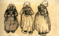Three Studies of a Woman with a Shawl by @artistvangogh #realism