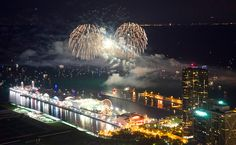 Around Town: Fireworks!: Chicagoist 4th of July fireworks with Navy Pier in foreground July 2014