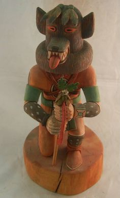 Wolf #kachina (Kweo) by late #Hopi carver Jocelyn Vote