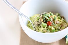 "Creamy Pesto ""Pasta"" with Spring Vegetables by Danielle Walker of AgainstAllGrain.com"