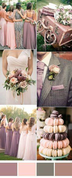 thème de mariage en rose et gris, theme mariage couleur