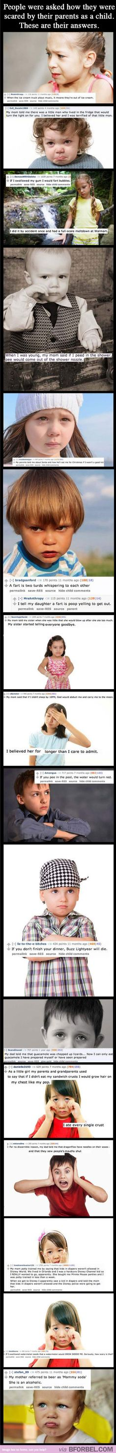 Lies our parents told us. Scary how we've all heard the same things. Is there a parent group for this?