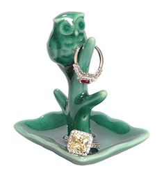 Owl Ring Holder with Tree Display Dish, Cute Teal Ceramic Engagement and Wedding Ring Holder