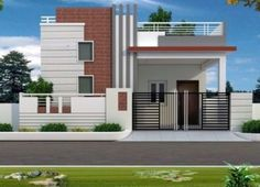 front elevation designs for duplex houses in india Single Floor House Design, Bungalow House Design, House Front Design, Small House Design, Modern House Design, Village House Design, Kerala House Design, Normal House, Indian House Plans