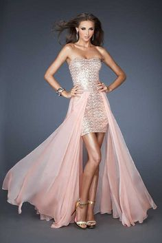 Long Removable High Low Sequin Prom Dress by La Femme 18872