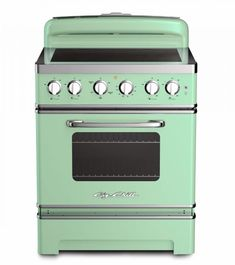 Big Chill& Retro Electric Induction Range is constructed from stainless steel, authentic chrome trim and handle, and is available in natural gas or propane. Choose from eight standard colors or 200 custom colors.