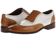 Vintage style 1920s 1930s mens shoes. Messico - Capuchino TanWhite Leather Mens Dress Flat Shoes $139.00 AT vintagedancer.com