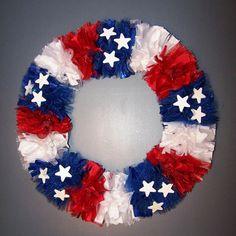 Patriotic Wreath Memorial Veterans 4th July Red White Blue Flag White Stars