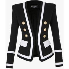 Balmain Two tone double-breasted cotton blazer (€1.680) ❤ liked on Polyvore featuring outerwear, jackets, blazers, two tone blazer, cotton double breasted blazer, blazer jacket, cotton jacket and slim fit double breasted blazer