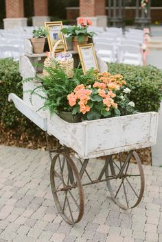 Ceremony site ~ down the aisle,  Flower Cart, Spring Wedding at Arlington Hall at LeePark.  Photo by Apryl Ann Photography.  floral from Cocktails and Caviar.  Flower cart by Rent My Dust #vintagerentals #springwedding #happybride