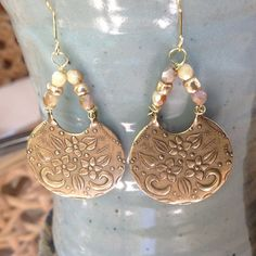 Summer solstice gold and ivory beaded earrings by CrowsFeetStudio