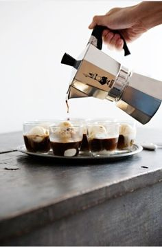 affogato = ice cream + hot espresso.   i want one of these little coffee pot things.