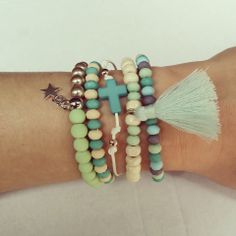 Armcandy Armparty Bracelets Mint Green and Beige with Tassel