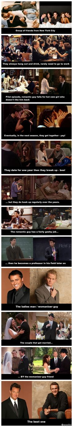 Friends vs How I Met Your Mother Chandler is spot on but I think the best one from himym is Barney How I Met Your Mother, Best Tv Shows, Best Shows Ever, Favorite Tv Shows, Serie Friends, Friends Tv Show, Funny Friends, Friend Jokes, Friends Episodes