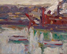 """On the River,"" Charles Salis Kaelin, ca. 1920, oil on board, 8 1/8 x 10 1/4"", Spanierman Gallery."