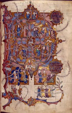 Full-page initial D of Psalm 38, showing scenes from 1 Samuel 25.  Illuminated titles, miniatures at bottom of columns.