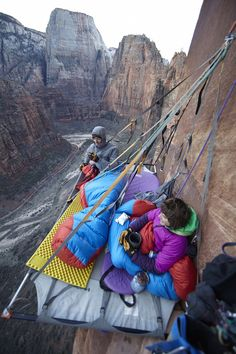 Katie Lambert & Mason Earle free climbing the 1200-foot sandstone Moonlight Buttress, Zion National Park, Utah