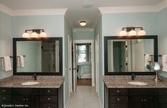 Matching dual vanities in the master bathroom. Plan #734-D - The Gilchrist: http://www.dongardner.com/plan_details.aspx?pid=546. #Master #Bathroom #Vanities