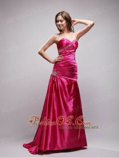 Sexy High Slit Long Hot Pink Chiffon Ruched Prom Dress With ...