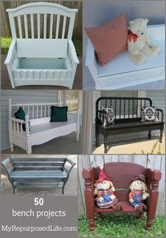 50 bench projects from MyRepurposedLife.com, including dressers, headboards, cribs and more