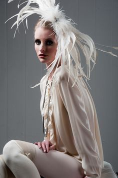 White Swan  Feather Hair Accessory