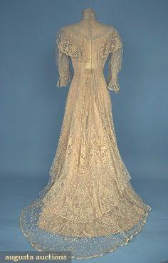 trained lace tea gown, c. 1905 1-piece w/ Brussels lace applique on net & inserts of heavier floral motif bobbin lace