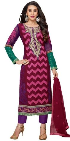 Tranquil Georgette Straight Suit In Purple Color.