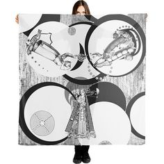 Mary the Virgin scarf, Steampunk Shawl, Geek artsy scarves, Black and... (€52) ❤ liked on Polyvore featuring accessories, scarves, black and white scarves, shawl scarves, chiffon shawl, black and white shawl and blanket scarf