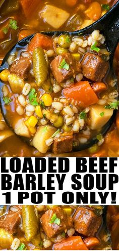 Quick and easy beef barley soup recipe, made with simple ingredients in one pot. A weeknight meal loaded with Italian seasoning, vegetables, tender beef. Slow Cooker Recipes, Beef Recipes, Cooking Recipes, Beef Broth Soup Recipes, Cooking Tips, Cooking Bacon, Chicken Recipes, Beef Barley Soup, Recipes