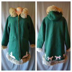 Vintage Canadian Inuit Eskimo Parka Green Wool Coat by boobooretro
