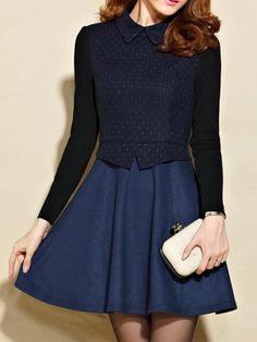 Dot Print Dress with Knit Long Sleeve