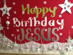 Pictures of Christmas Bulletin Boards for church | We made this bulletin board for our church Christmas party. On the ...