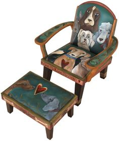 "Friedrich's Chair & Ottoman - Medium [part#CHR075] 'DOGS' D:28""D x 23""W x 37""H 