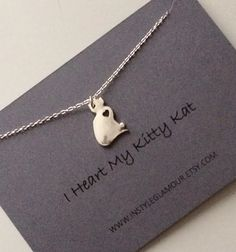 Cat Necklace Silver Cat Necklace Kitty Kat by Instyleglamour