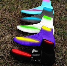 """Nike mercurial supefly """"neon"""" pack by me! Rate Tag a friend who would get some of these Tags (ignore) Girls Soccer Cleats, Nike Cleats, Soccer Gear, Soccer Equipment, Play Soccer, Nike Soccer, Football Cleats, Solo Soccer, Soccer Stuff"""