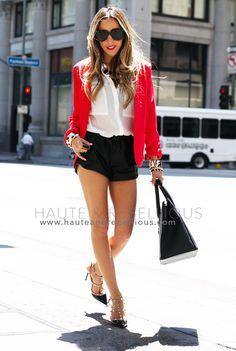 Red Blazer & White Blouse & Black Shorts & Studded Black Heels from blog.hauteandrebellious.com