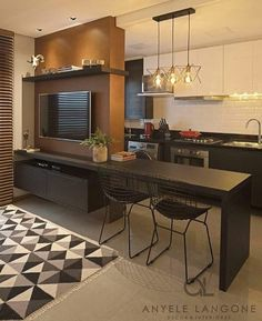 Room and kitchen divided and integrated at the same time, an excellent solution . - Home Theater Home Decor Kitchen, Kitchen Living, Home Living Room, Living Room Designs, Apartment Interior, Apartment Design, Studio Apartment Layout, Small Apartments, Sweet Home
