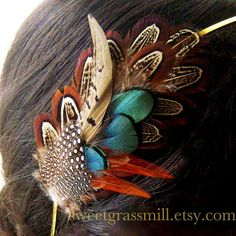 Feather Headband PEMBERLEY MAIDEN Pheasant & by sweetgrassmill